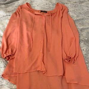 Orange Button up Casual Blouse Long sleeve shirt